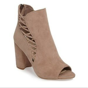 Jessica Simpson Millo suede blush open toe boots